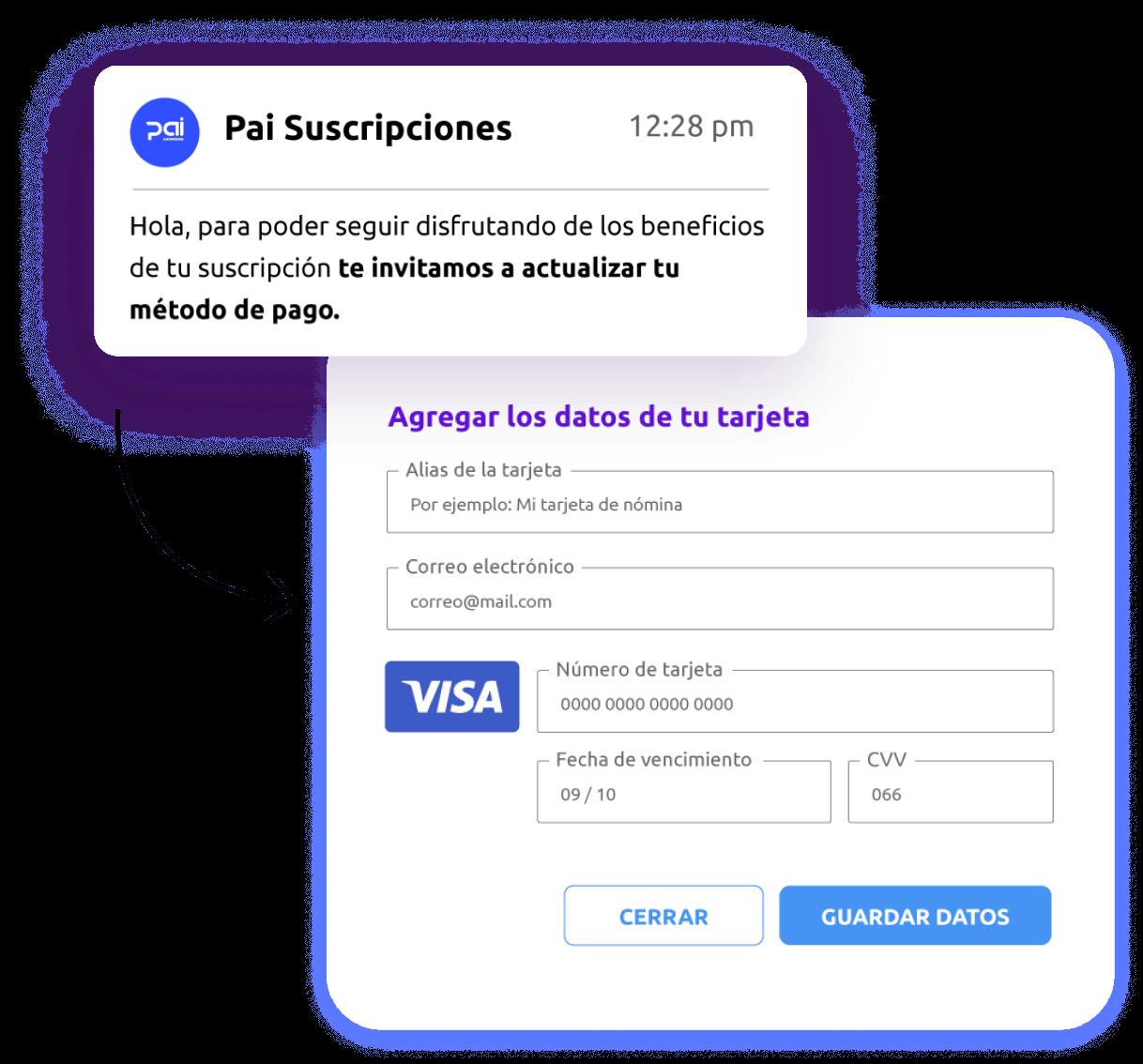 Ilustración: Actualización de método de pago