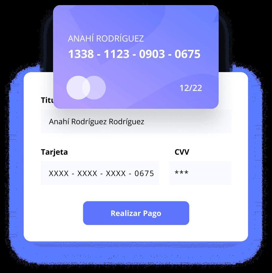 Formulario de compra y pago con tarjeta